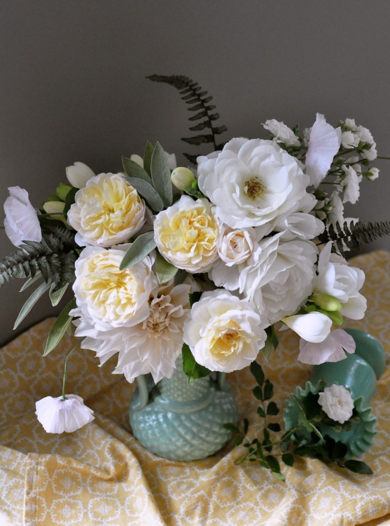 seattle floral designer, finch and thistle, centerpiece, garden roses