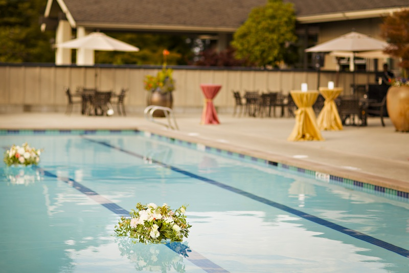 finch and thistle, seattle event designer, floral design, blush, gold pool flowers