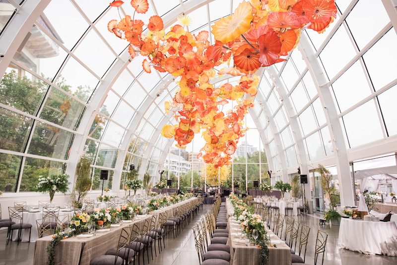 finch thistle chihuly gardens wedding